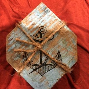 Other - Distressed Wood Coasters with Painted Anchor